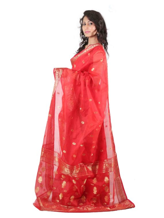 Naksi Masrai Red Meena Butti Saree